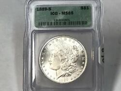 1889 S Morgan Dollar Icg Ms65 White Coin Old Holder