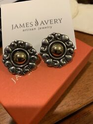 """James Avery Damask Border French Clip Ear R 14k Gold And 925ss Gift Box Retired 1"""""""