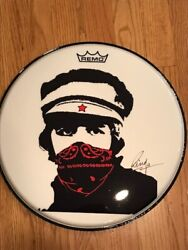 Beatle Ringo Starr Signed Red Bandana Remo Drumhead With Dual Authentication