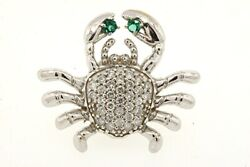 Lobster Crab Pin Brooch 14k White Gold Pave Diamond Green Stone Large 1 5.4g