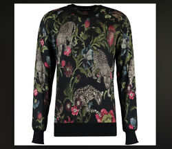 Dolce And Gabbana Mens Black Floral Cashmere Jumper Sweater Size S New