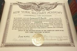 Vintage New York Military Academy Corporal Promotion Certificate Leonard B Smith
