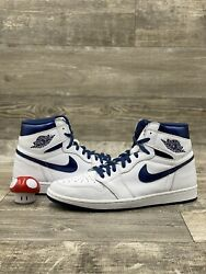 Nike Air Jordan 1 High OG Metallic Navy Blue White Black 2016 Size 14 555088 106