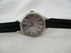 Carriage By Timex Watch Black Buckle Band Silver Toned Round Face