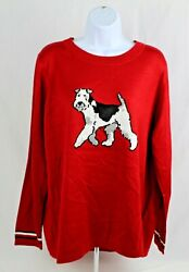 TOMMY HILFIGER $79 Women#x27;s Holiday Red Terrier Long Sleeve Sweater Size 1X NWT