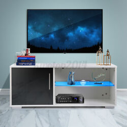 39'' Modern White Black High Gloss Tv Stand With Led Lights Entertainment Center