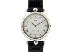 Heiwado And Co. Platinum 999 White Dial Leather Belt Stainless Menand039s Watch [b1119]