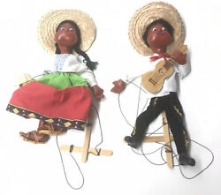 Pair Of Vintage Mexican Man And Woman Marionette String Puppets Handmade Lot