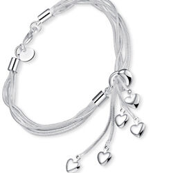 Womens Charm Cz Heart Infinity Stainless Steel Anklet Bracelet Motherand039s Day Gift