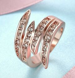 Dynamic Warp Around Cocktail Ring 14k Rose Gold Made With Crystals