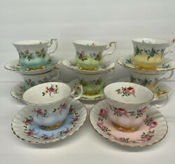 Royal Albert Set Of 8 Multi-color Floral Bone China Cups And Saucers - Sweet 🌸