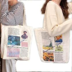Women#x27;s Canvas Totes Van Gogh Reusable Heavy Duty Travel Shopping Grocery bags $14.22