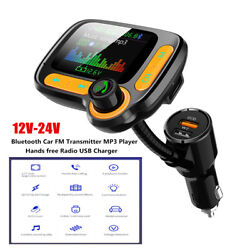 12-24v Bluetooth Car Auto Fm Transmitter Mp3 Player Hands Free Radio Usb Charger