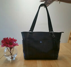 The Sak Ashby Genuine Leather Black Satchel Shoulder Bag NEW $80.00