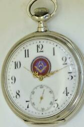 Rare Antique Revue Tommen Silver Masonic Open Face Pocket Watch C1900and039s