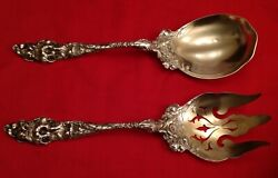 2 Piece Reed And Barton Les Six Fleurs Sterling Salad Serving Set Old Mrd Pat Date