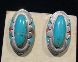 Leo Yazzi Navajo Silver And Turquoise Earrings With Coral Signed Pierced Ears