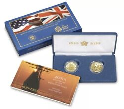 400th Anniversary Mayflower Voyage Two Coin Gold Proof Set 100 Authentic