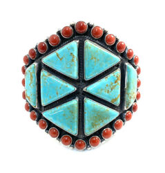 Native American Sterling Silver Navajo Natural Coral Turquoise Cuff Bracelet