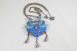 Chinese Collections Old Vintage Antique Lotus Flower Shape Enameling Pendant