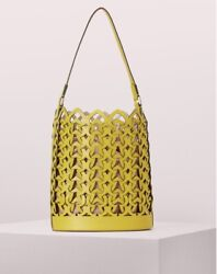 NWT kate spade Kate Dorie medium Bucket Leather bag Chartreuse Yellow $134.00