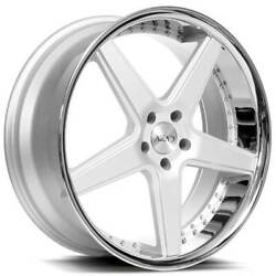 4ea 20 Staggered Azad Wheels Az008 Silver Brushed With Chrome Lip Rimss45