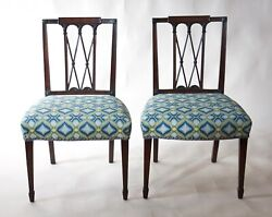 Pair Of Period Square-back Sheraton Side Chairs New York C1800 Bargello Fabric