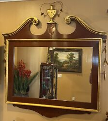 Chippendale Style Mahogany And Gilded Wood Architectural Constitution Mirror