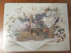 8 Pimpernel Cork Back Swan Song Flowers Golden Pears 15 3/4 X 11 3/4 Placemats