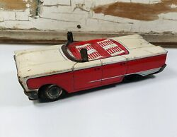 Vintage Tin Toy Ford Mt Car Red And White Pulled A House Trailer At One Time Japan