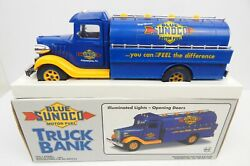 Blue Sunoco Motor Fuel Toy Truck Bank In Box Marx Toys 1993 Lights Limited Ed