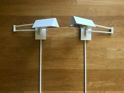 Pair Of Casella C1575 Bedside Swing Arm Wall Reading Lamps Made In Usa 120v