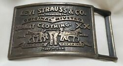 Vtg Levi Strauss And Co Original Riveted Quality Clothing Made In Usa Belt Buckle