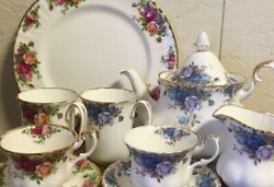 Royal Albert 7-piece Set Pottery Made In England Vintage Item Rare From Japan 2h