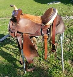16 inch Western Hand made Leather Saddle Deep Seat High Cantle
