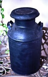 Antique 10 Gallon Steel Milk Can Pale With Cover Painted Black