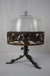 12 Inch Metalware Footed Iron Cake Stand With 10 Inch Glass Dome