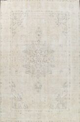 Antique Muted Traditional Distressed Hand-knotted Evenly Low Pile Area Rug 10x13