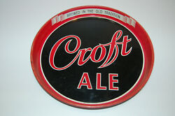 VINTAGE CROFT ALE BEER SERVING TRAY BREWED IN THE OLD TRADITION BLACK RED BOSTON