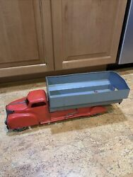Rare Vintage Louis Marx Tin Toys Pressed Steel Dump Truck Red Grey Gray Blue