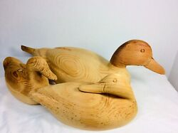 Set Of 3 Carved Wood Unfinished Mallard Duck Decoys Lengths Are 17andrdquo9andrdquo And 8.5andrdquo