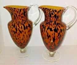 2hand Blown Tortoise Shell Spotted Leopard Print Amici Art Glass Footed Pitcher