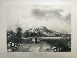 1860 Antique Print Stirling From The East Carse Scotland After Thomas Clark