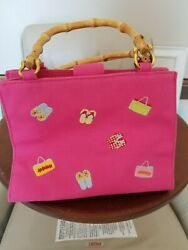 Tianni Handbag Pink w Embroidered Flip Flops and Beach Bags Bamboo Look Handles $10.00