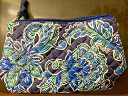 Travel Makeup Bag Organizer MODELLA Cosmetic Bag Quilted Navy Blue Paisley $10.00