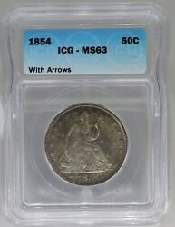 1854 Seated Liberty Half Dollar With Arrows Icg Ms63