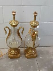Exquisite Gilt Bronze Dore Mounted Cut Crystal Urn Lamps French Louis 16th