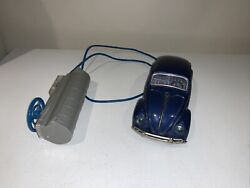 Vintage Tin Battery Operated Vw Beetle Remote Controled Toy Car Bandai