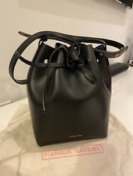 Mansur Gavriel Mini Bucket Bag Black Blue $245.00