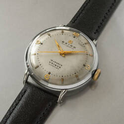 Seiko Vintage 15 Jewels Unique Rare Ss Manual Winding Mens Watch Auth Works